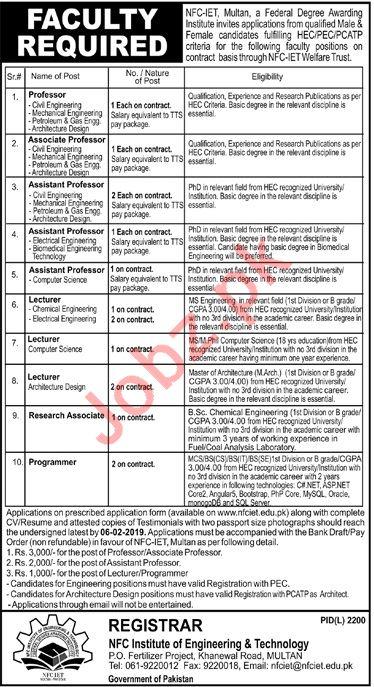 NFC Institute of Engineering & Technology Multan Jobs 2019