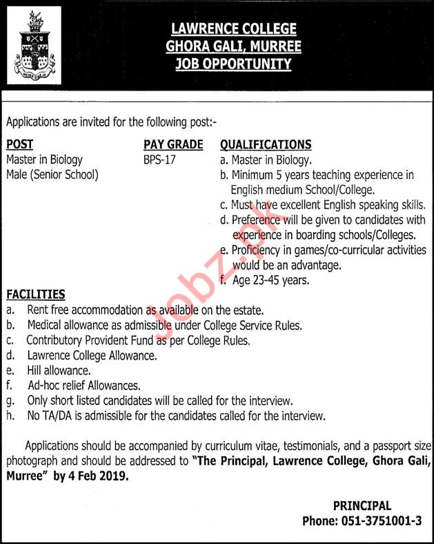 Lawrence College Ghora Gali Biology Teacher Jobs 2019