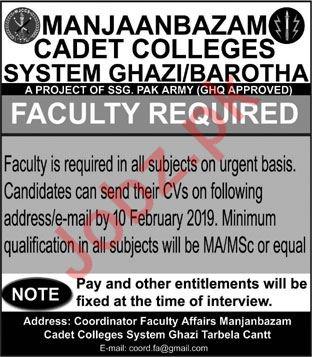 Manjaanbazam Cadet College Tarbela Cantt Jobs 2019