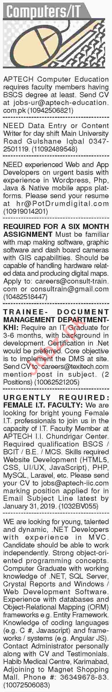 Dawn Sunday Classified Ads 20th Jan 2019 for IT Staff