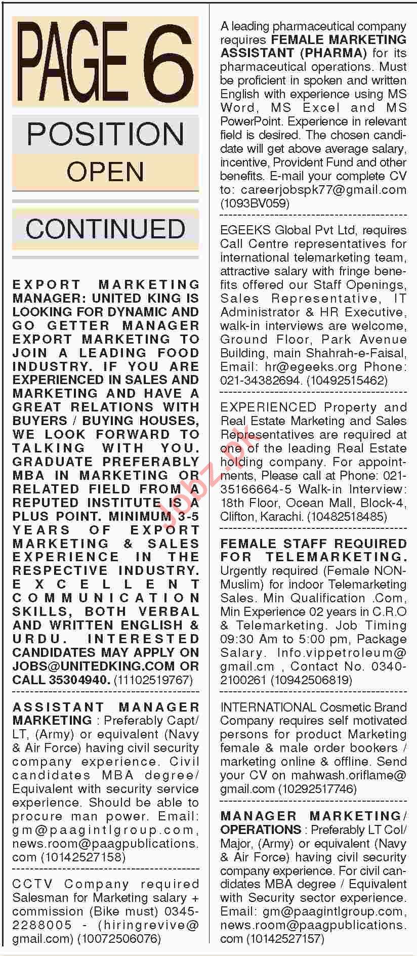 Dawn Sunday Classified Ads 20th Jan 2019 Marketing Staff