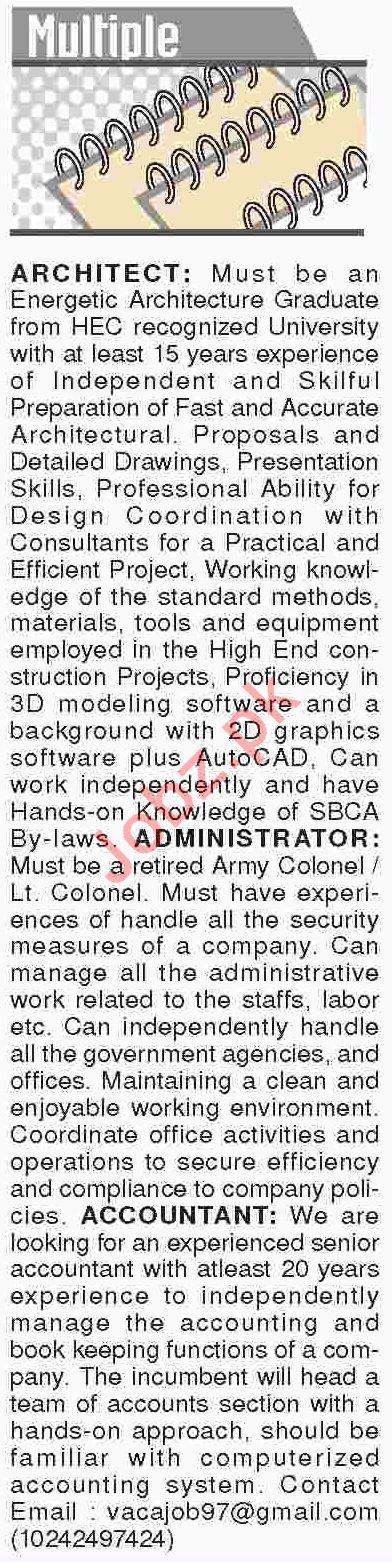 Dawn Sunday Classified Ads 20th Jan 2019 Multiple Staff