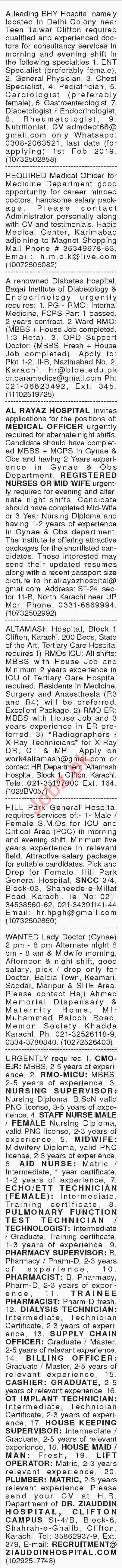 Dawn Sunday Classified Ads 20th Jan 2019 for Medical Staff