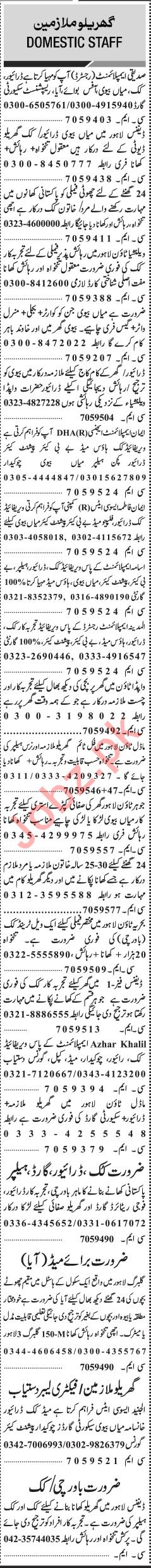 Jang Sunday Classified Ads 20th Jan 2019 for House Staff