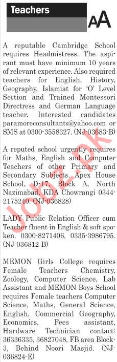 The News Sunday Classified Ads 20th 2019 for Teaching Staff