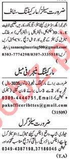 Nawaiwaqt Sunday Classified Ads 20th Jan 2019 Sales Staff