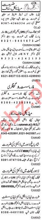 Nawaiwaqt Sunday Classified Ads 20th Jan 2019 Medical Staff