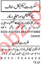 Nawaiwaqt Sunday Classified Ads 20th Jan 2019 for Technical
