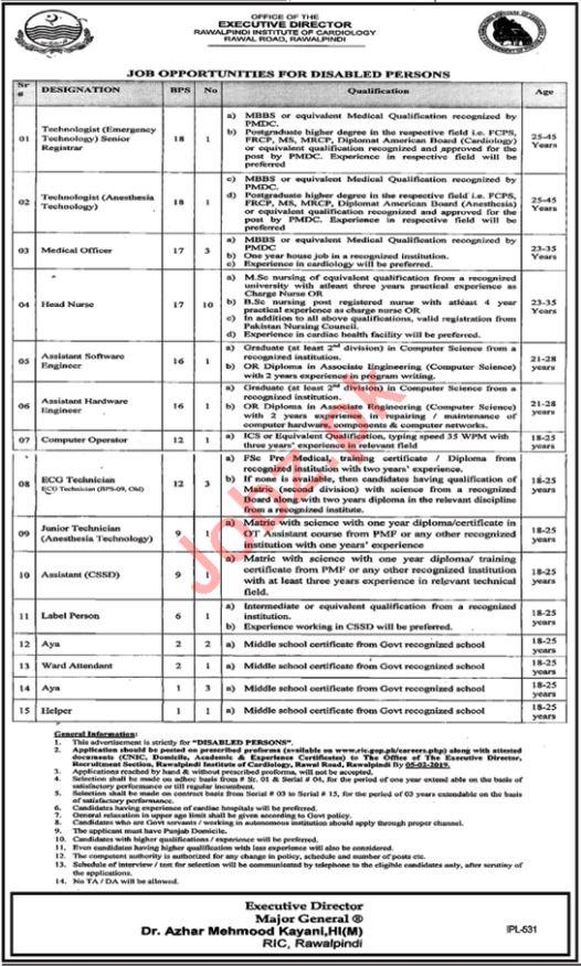 Rawalpindi Institute of Cardiology Jobs 2019 in Rawalpindi