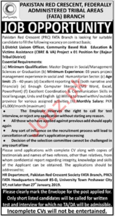 Pakistan Red Crescent PRC NGO Jobs 2019 in Bajaur Agency