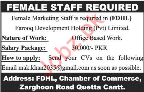 Farooq Development Holding Pvt Ltd FDHL Marketing Jobs 2019