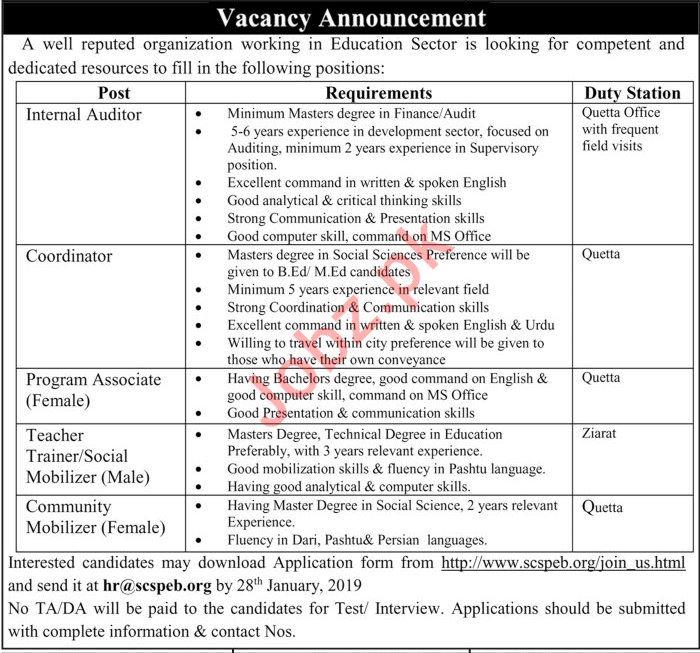 Education Sector Jobs 2019 in Quetta Balochistan