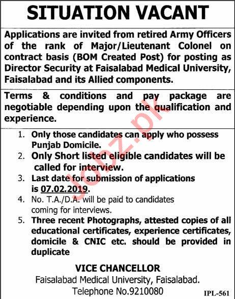 Faisalabad Medical University Job 2019 For Director Security