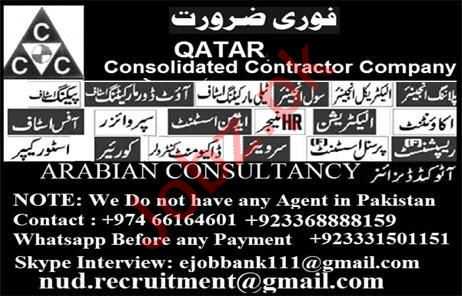 Consolidiated Contractor Company Jobs 2019 For Qatar