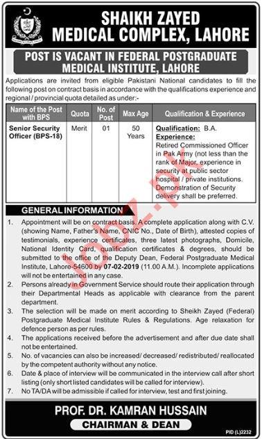 Federal Postgraduate Medical Institute Job 2019 in Lahore