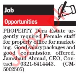 Real Estate Company Marketing Jobs 2019 in Lahore