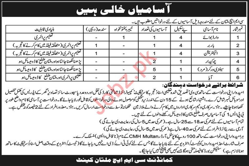 Combined Military Hospital CMH Jobs 2019 For Multan