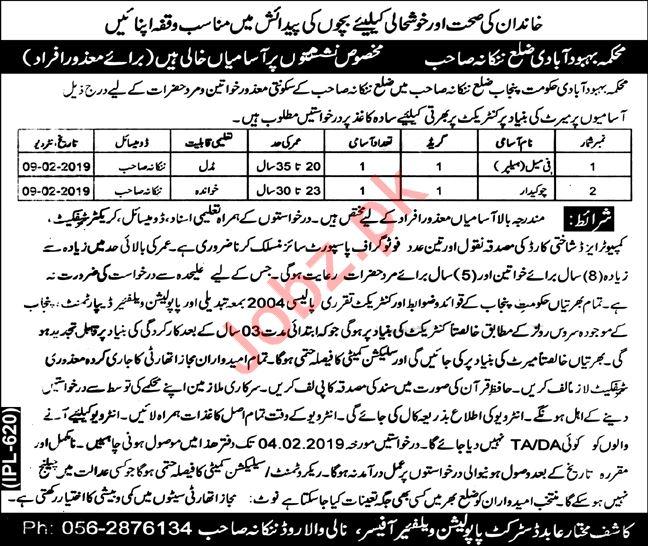 Population Welfare Department Jobs 2019 in Nankana Sahib