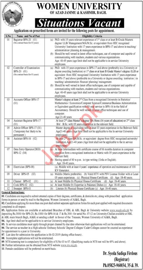 Women University Jobs 2019 in Bagh AJK via NTS