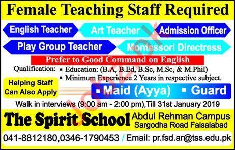 The Spirit School Abdul Rehman Campus Walk In Interviews