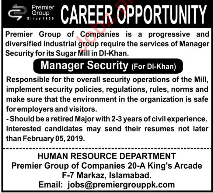 Manager Security Job For Sugar Mill in Dera Ismail DI Khan