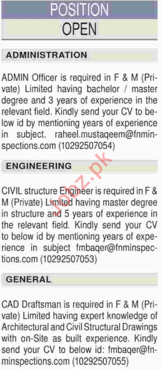 Admin Officer & Civil Engineer Jobs 2019 in Karachi