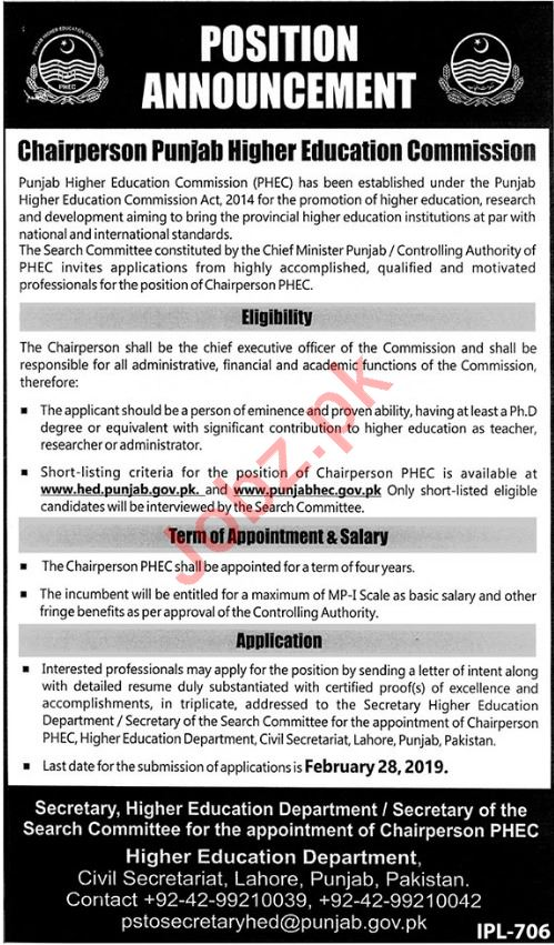 Punjab Higher Education Commission PHEC Lahore Jobs 2019