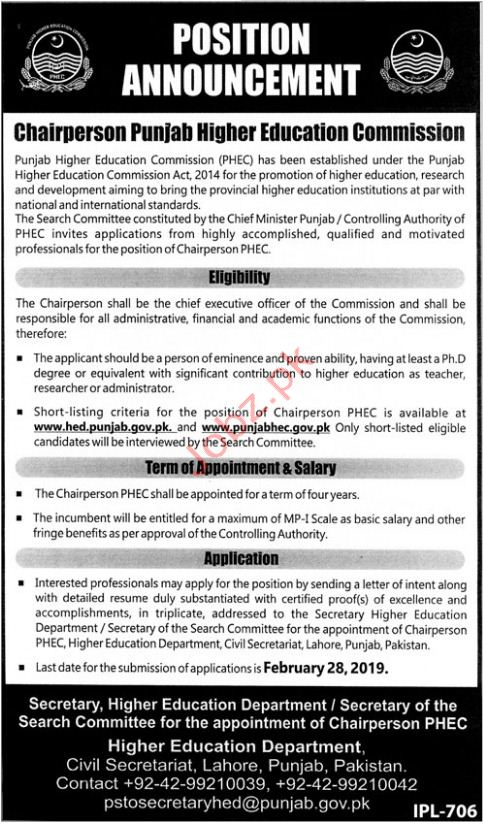 Punjab Higher Education Commission PHEC Jobs 2019