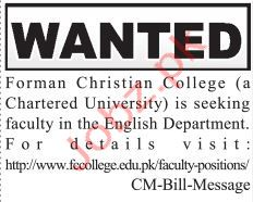 Forman Christian College Teaching Jobs 2019