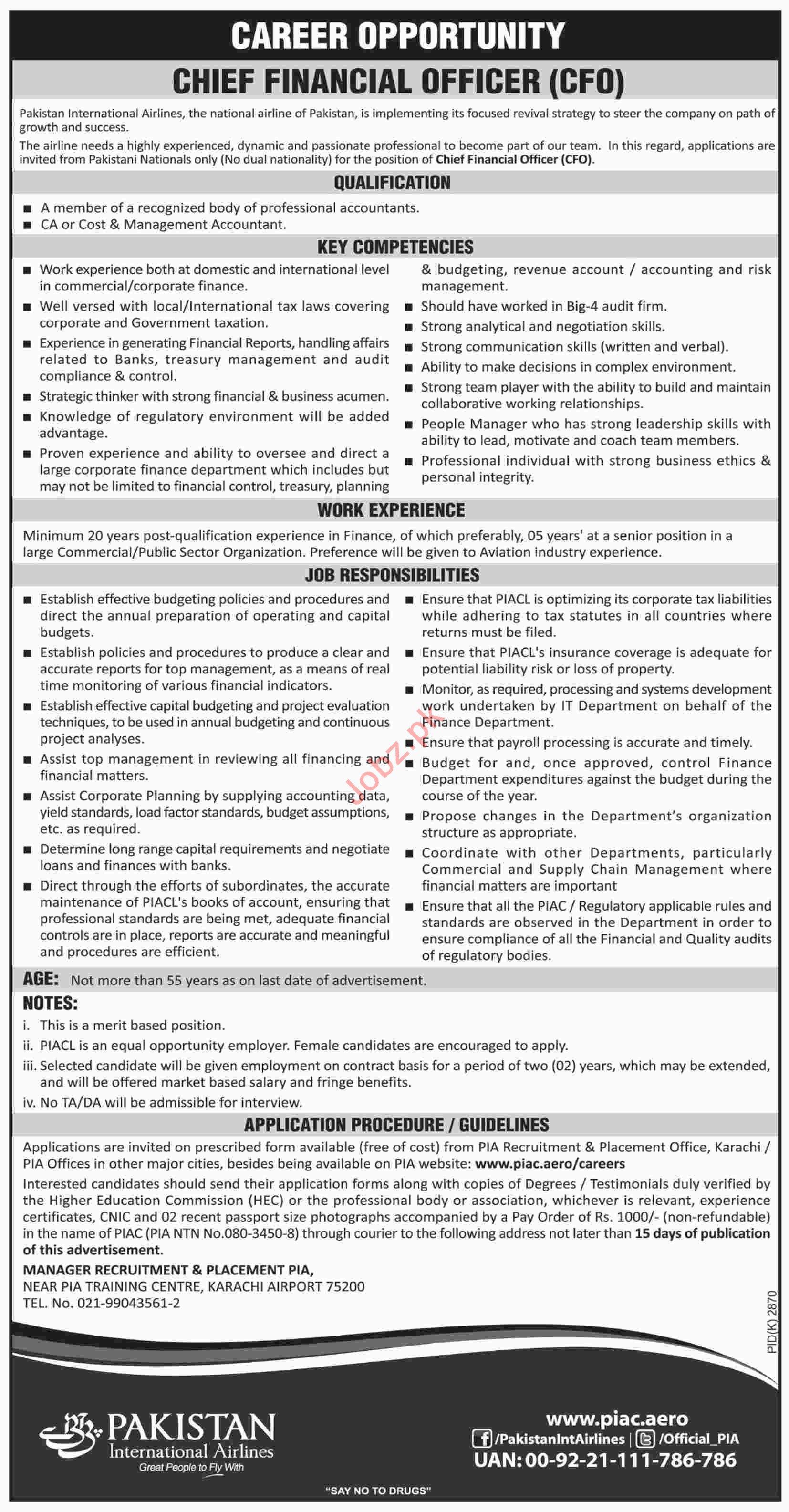 PIA Karachi Jobs 2019 for Chief Financial Officer