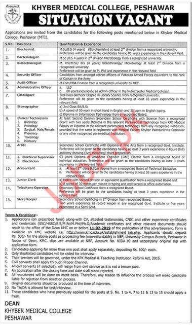 Khyber Medical College Mti Non Teaching Jobs In Peshawar Kpk 2019
