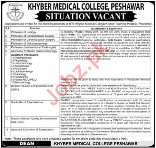 Khyber Medical College Jobs 2019 in Peshawar KPK