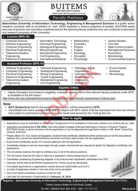 BUITEMS Faculty Jobs 2019 in Quetta Through NTS