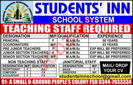 Students Inn School System Jobs 2019 in Faisalabad
