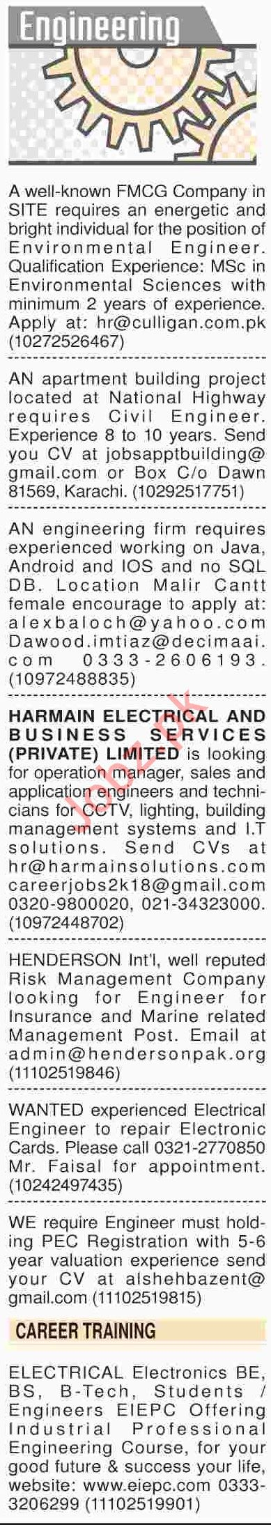 Dawn Sunday Newspaper Engineering Classified Jobs 27/01/2019