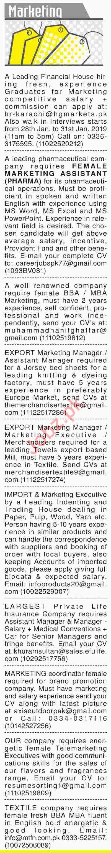 Dawn Sunday Newspaper Marketing Classified Jobs 27/01/2019