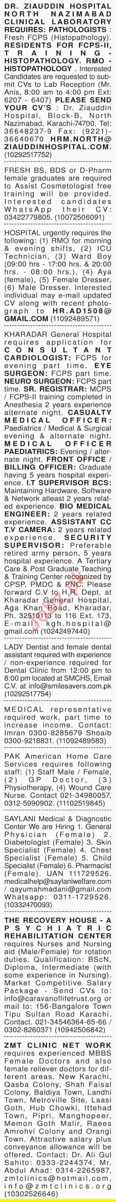 Dawn Sunday Newspaper Medical Classified Jobs 27/01/2019
