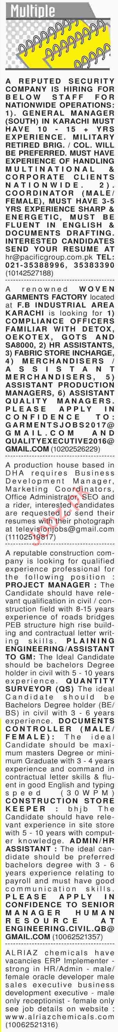 Dawn Sunday Newspaper Multiple Classified Jobs 27/01/2019