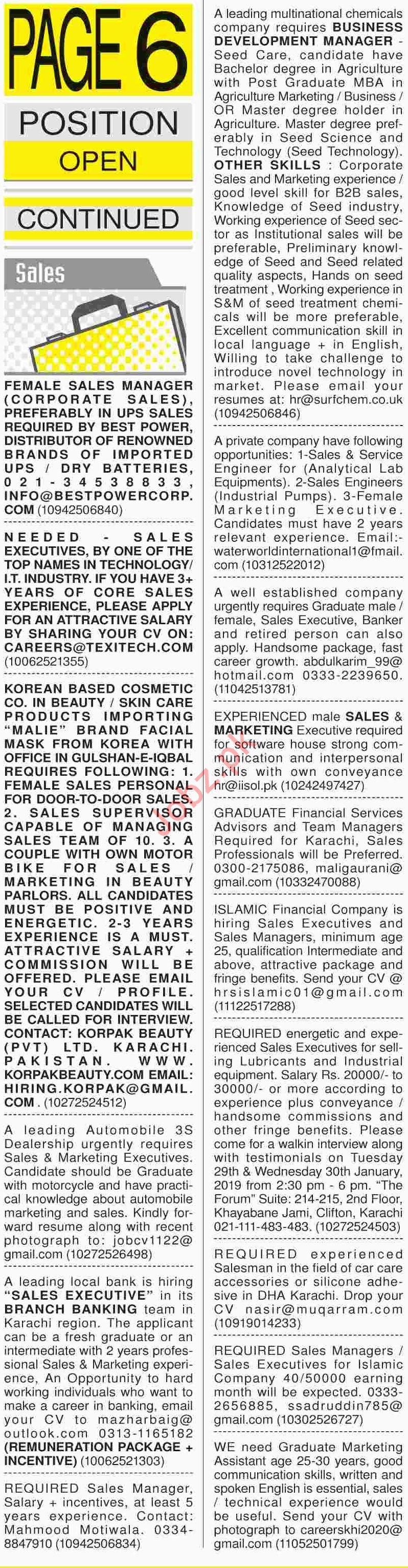 Dawn Sunday Newspaper Sales Classified Jobs 27/01/2019