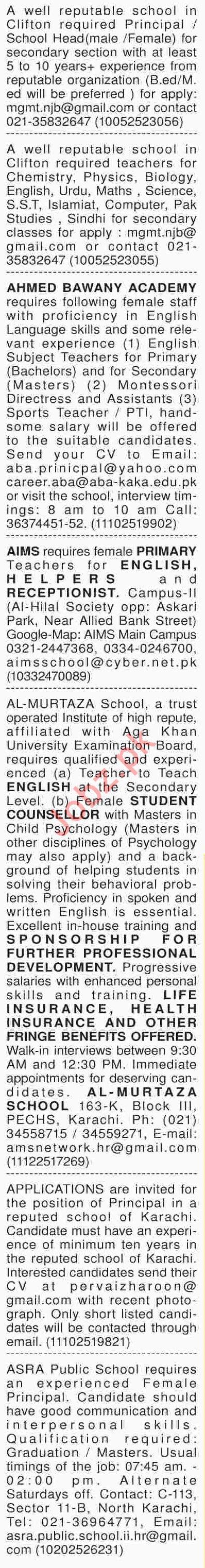 Dawn Sunday Newspaper Teachers Classified Jobs 27/01/2019