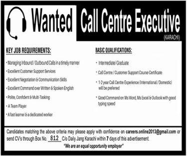 Executive Jobs in Call Centre