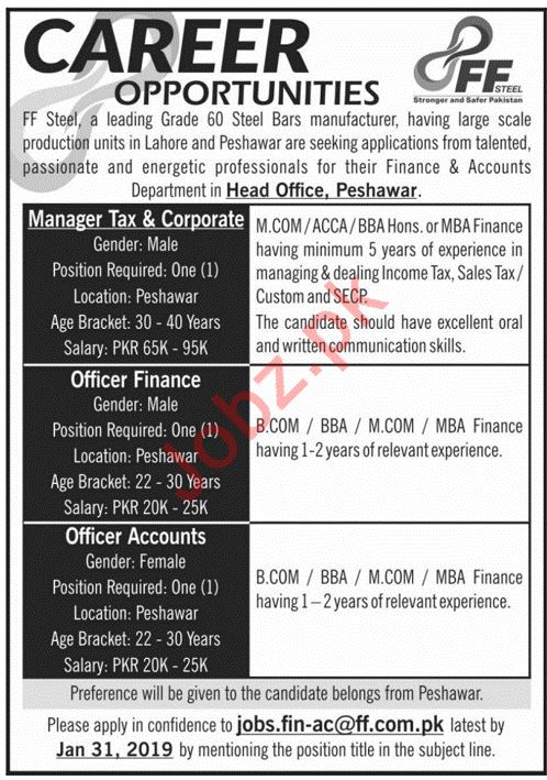 FF Steel Manufacturing Industry Jobs 2019 in Peshawar KPK
