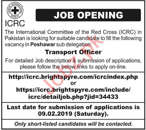 ICRC NGO Jobs For Transport Officer in Peshawar KPK