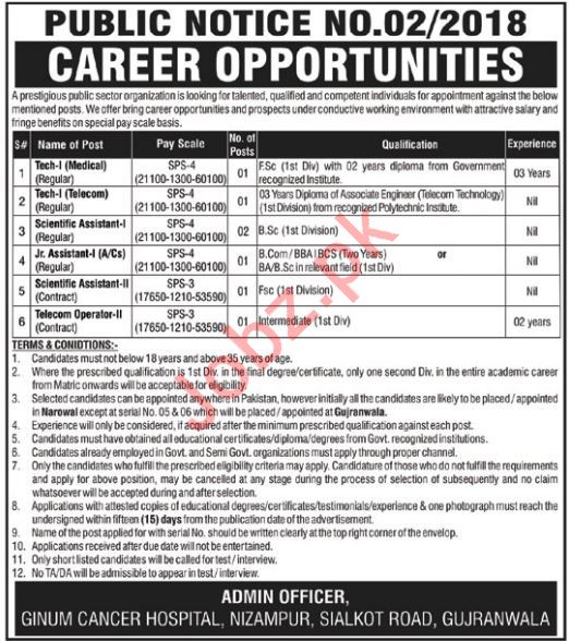 PAEC GINUM Cancer Hospital Jobs 2019 in Gujranwala