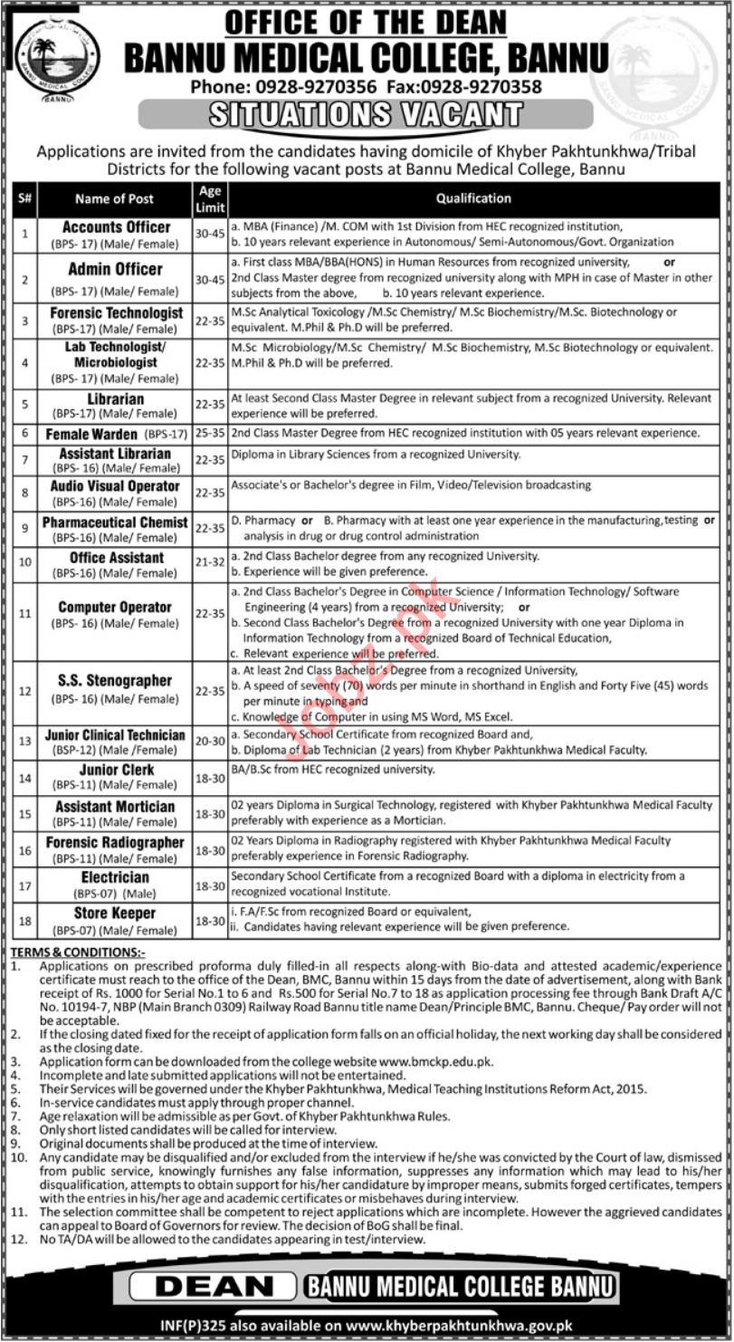 Bannu Medical College Jobs 2019 For Bannu KPK