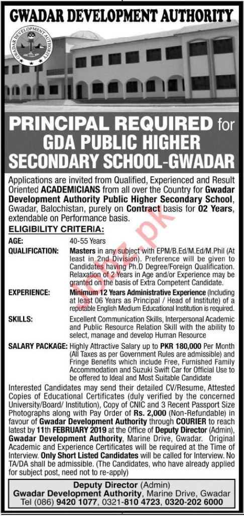 Gwadar Development Authority Principal Jobs