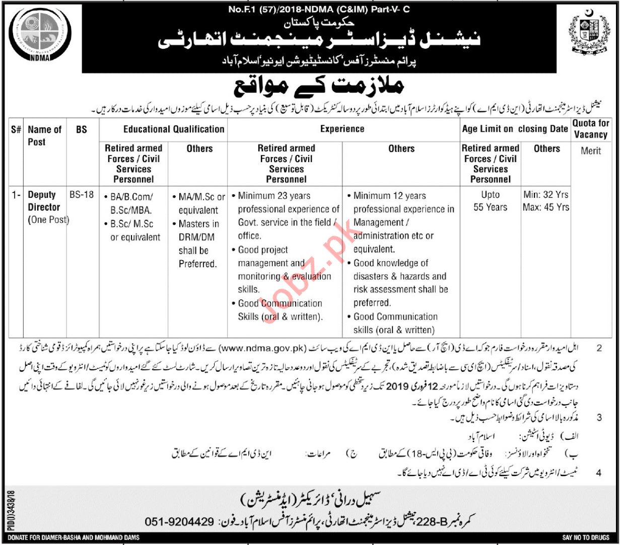 National Disaster Management Authority Deputy Director Jobs