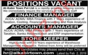 Finance Manager, Accounts Manager, Storekeeper Jobs 2019