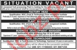 Factory Head Jobs at Fruit Processing Plant
