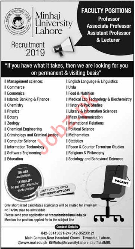 Minhaj University Lahore Faculty Jobs 2019 in Lahore
